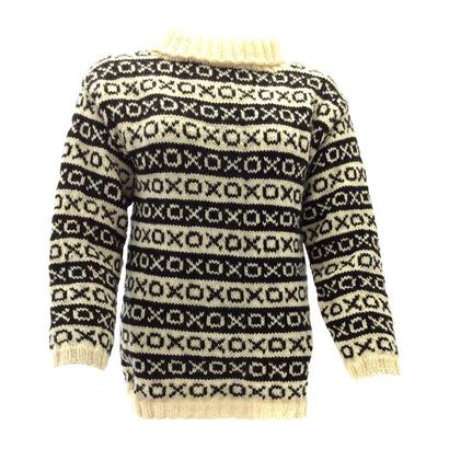 Gepard Nordic OXO Border Sweater, grey/white