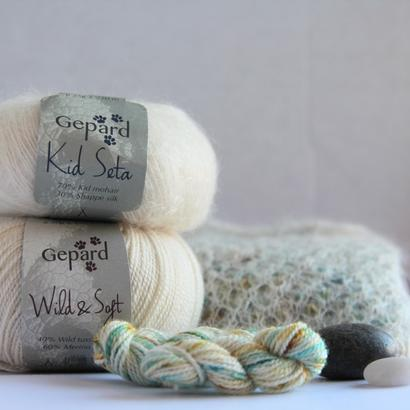 Hand dyed Wild & Soft EARTH & SKY in green / turquoise nuances and speckles of curry