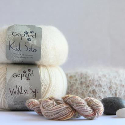 Hand dyed Wild & Soft PEARL in mother of pearl: rose, cream and a splash golden