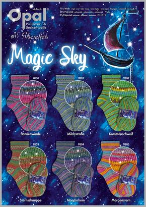 Opal Sock Yarn Magic Sky with Silver Effect - 4-ply